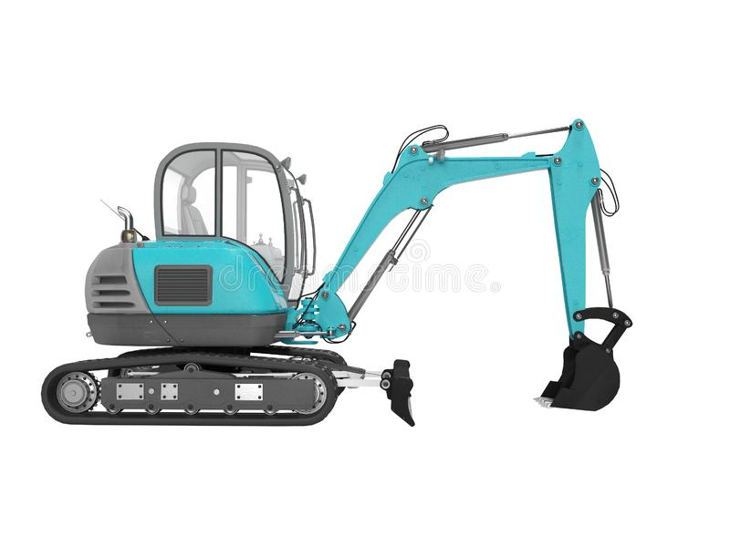 Escavatore dell'attrezzatura per l'edilizia con mekhlopaty idraulico sul cingolo con la vista laterale 3d dei secchi non rendere  illustrazione di stock