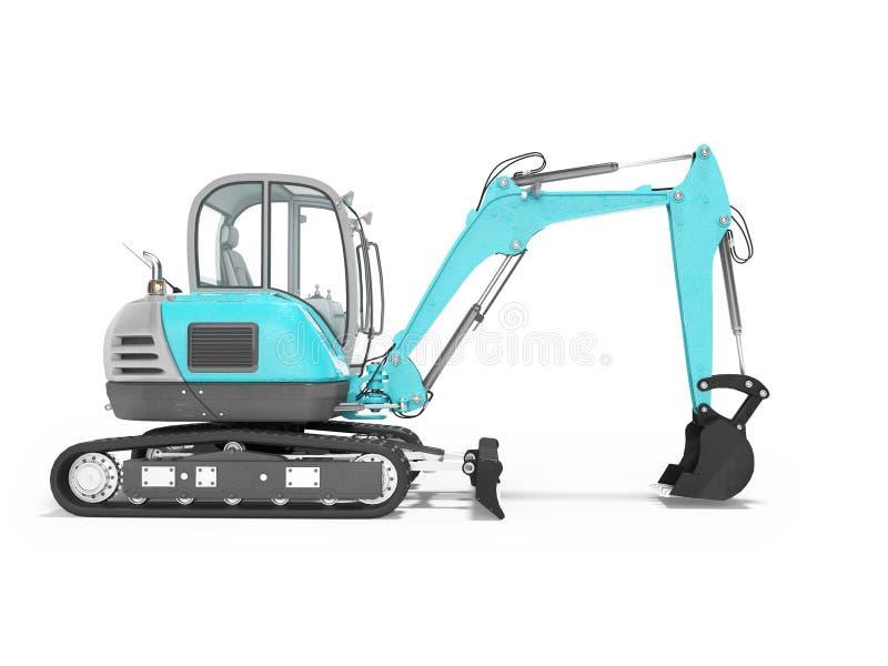 Escavatore dell'attrezzatura per l'edilizia con mekhlopaty idraulico sul cingolo con la vista laterale 3d dei secchi rendere su f illustrazione vettoriale