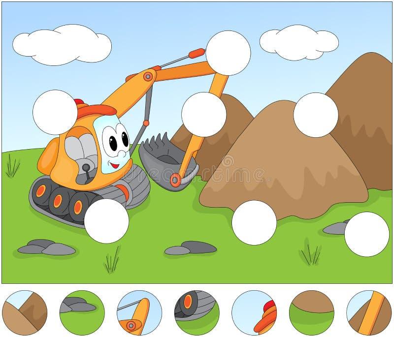 Escavatore divertente del fumetto Completi il puzzle e trovi il missin illustrazione vettoriale