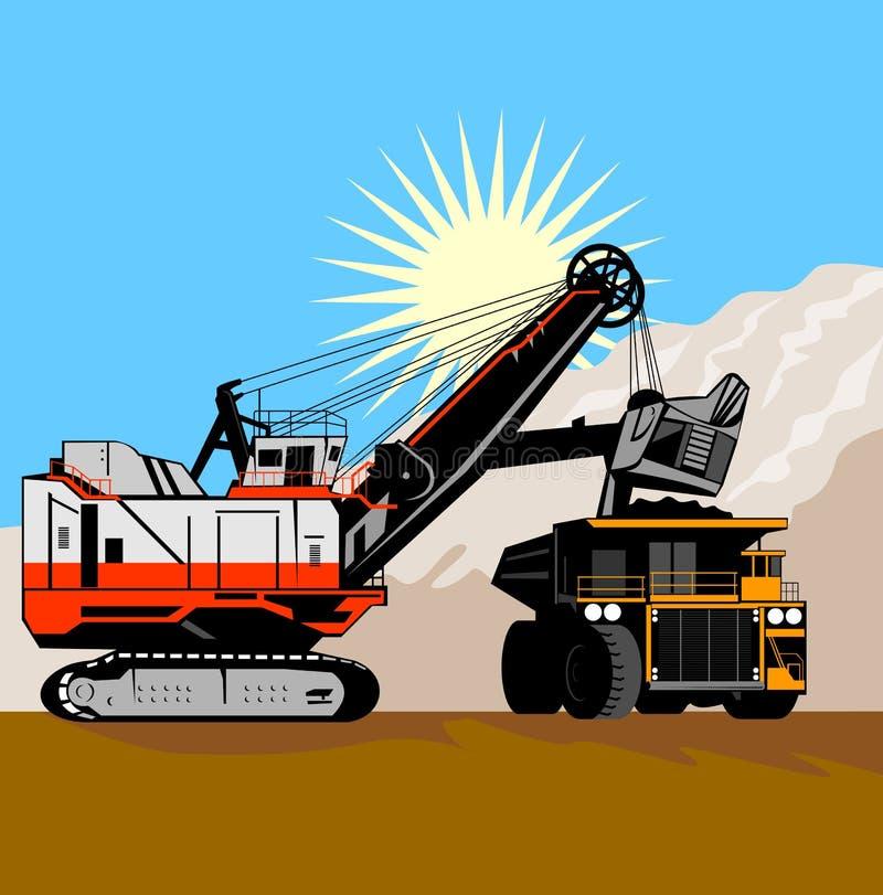 Escavatore ed autocarro con cassone ribaltabile illustrazione vettoriale