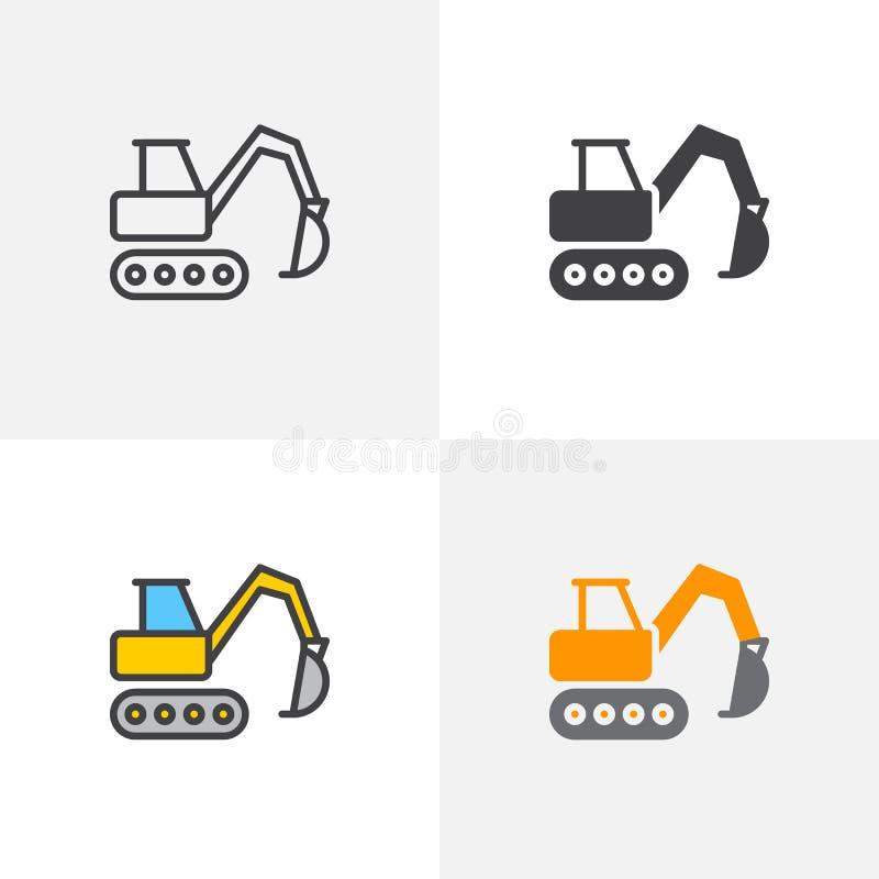 Escavatore, icona scavatrice del cingolo illustrazione di stock