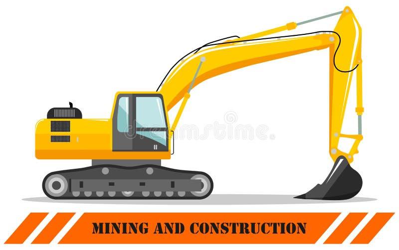 escavatore Illustrazione dettagliata della macchina d'estrazione e dell'attrezzatura per l'edilizia pesanti Illustrazione di vett illustrazione vettoriale