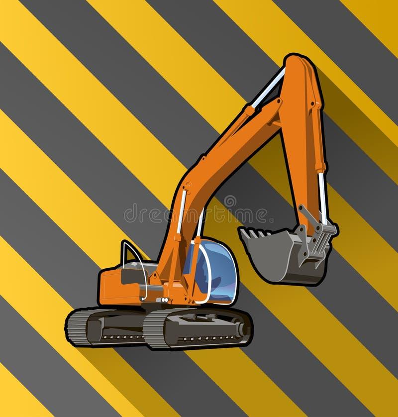 Escavatore sul nero e sul giallo spogliato illustrazione di stock