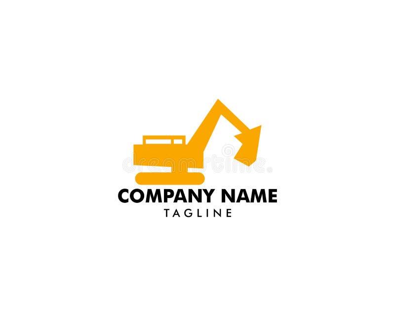 Escavatore Vector Logo Template, logo per attrezzatura pesante, costruzione, industriale illustrazione di stock