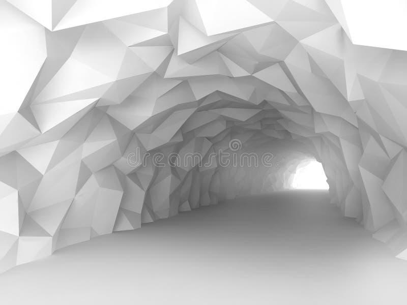 Escave um túnel o interior com relevo poligonal caótico das paredes ilustração royalty free