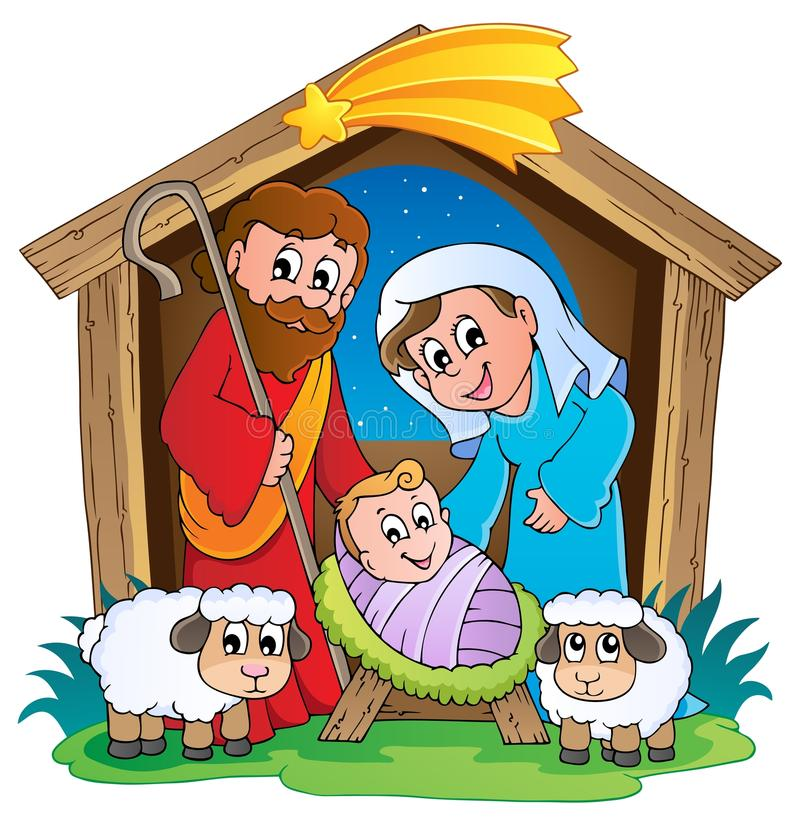 Escena 2 de la natividad de la Navidad stock de ilustración