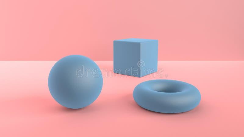 Escena abstracta de formas geométricas Azul de la bola, del cubo y del toro Luz ambiente suave en una escena 3D con un fondo de ilustración del vector