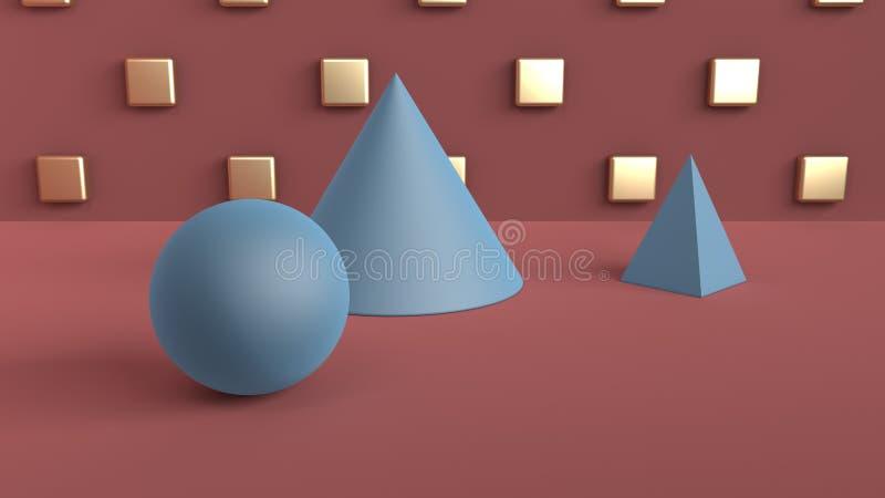 Escena abstracta de formas geométricas Bola, cono, y azul de la pirámide Luz ambiente suave en una escena 3D con una fan del rojo stock de ilustración