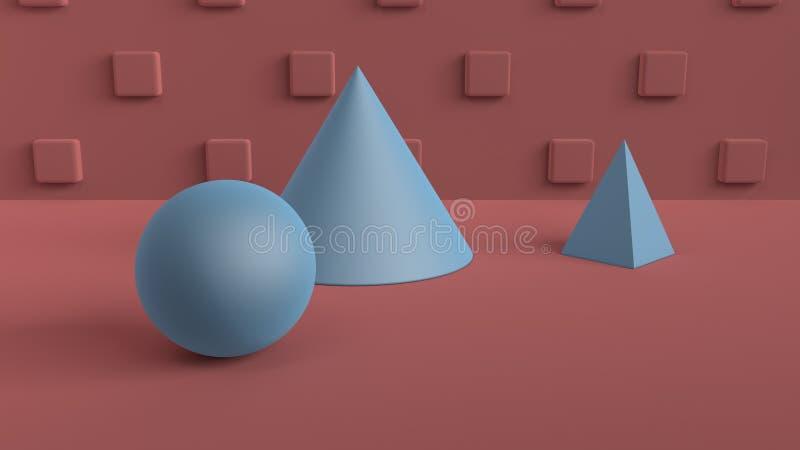 Escena abstracta de formas geométricas Bola, cono, y azul de la pirámide Luz ambiente suave en una escena 3D con un fondo de ilustración del vector