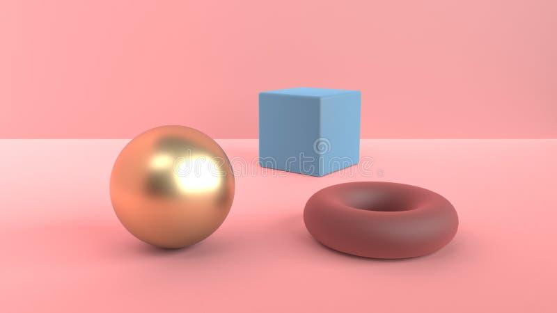 Escena abstracta de formas geométricas Bola de oro y cubo azul y un toro rojo marrón Luz difundida suave en un polvoriento libre illustration