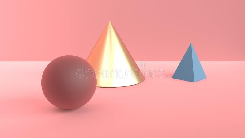 Escena abstracta de formas geométricas Cono de oro, pirámide azul y bola Borgoña-marrón Luz difundida suave en un polvoriento libre illustration