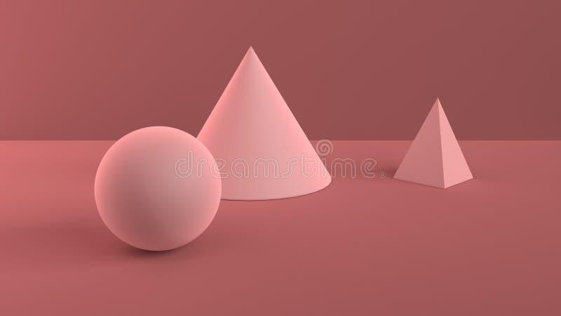 Escena abstracta de formas geométricas Rosa suave de la bola, del cono y de la pirámide Luz ambiente suave en la escena 3D con ro ilustración del vector