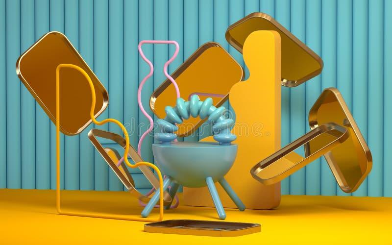 Escena abstracta del estilo de Memphis con los objetos geométricos libre illustration