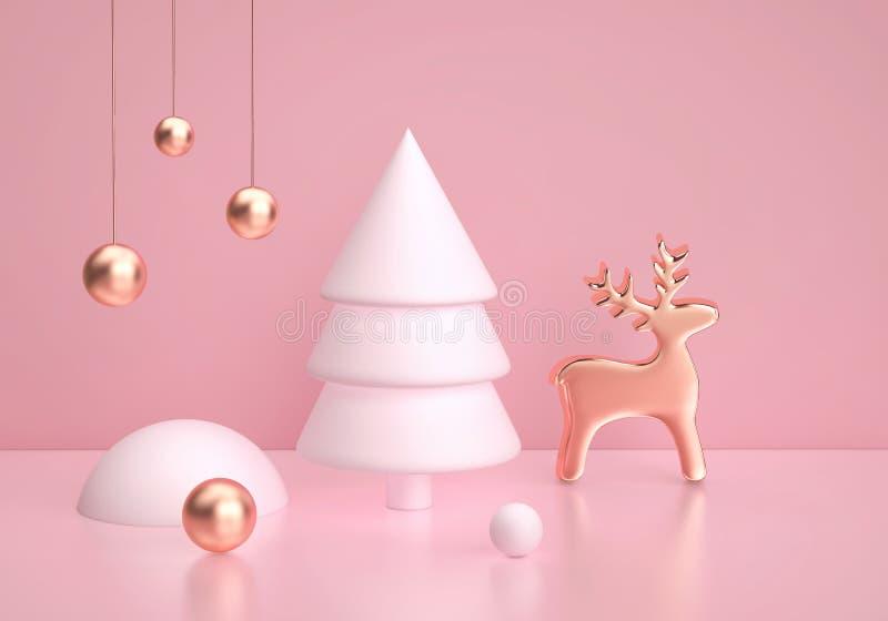 Escena abstracta del invierno con el árbol de navidad y los ciervos de oro en fondo rosado stock de ilustración