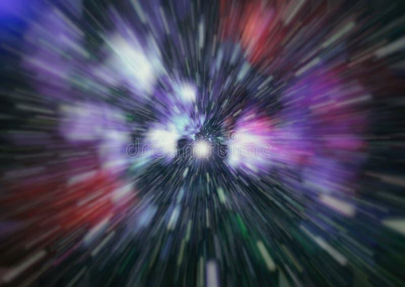 Escena abstracta del vuelo en el espacio, espacio que viaja, máquina de tiempo, ejemplo abstracto del fondo stock de ilustración
