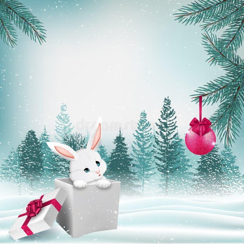 Escena al aire libre del invierno de la Navidad con el conejito lindo de la historieta en caja de regalo Vector libre illustration