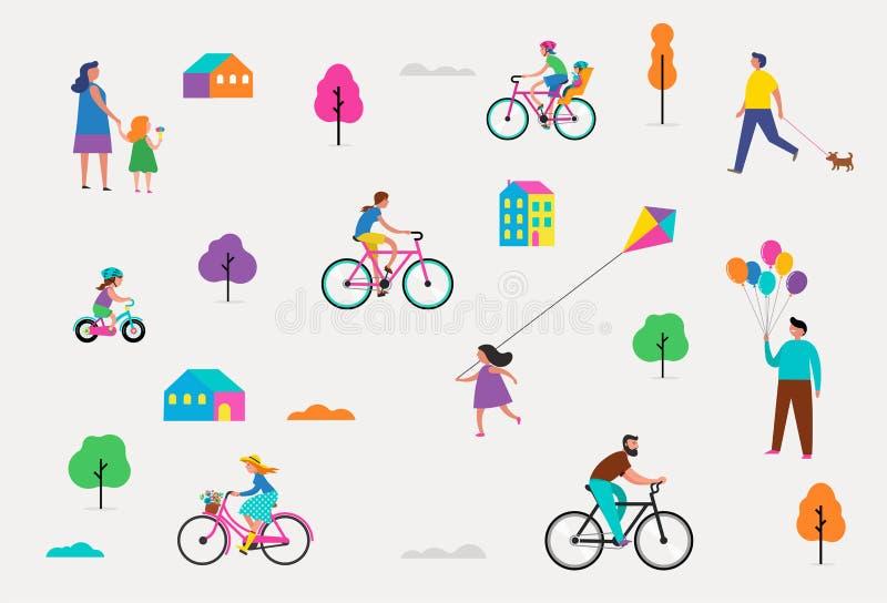 Escena al aire libre del verano con vacaciones de familia activas, ejemplo de las actividades del parque con los niños, pares y f ilustración del vector