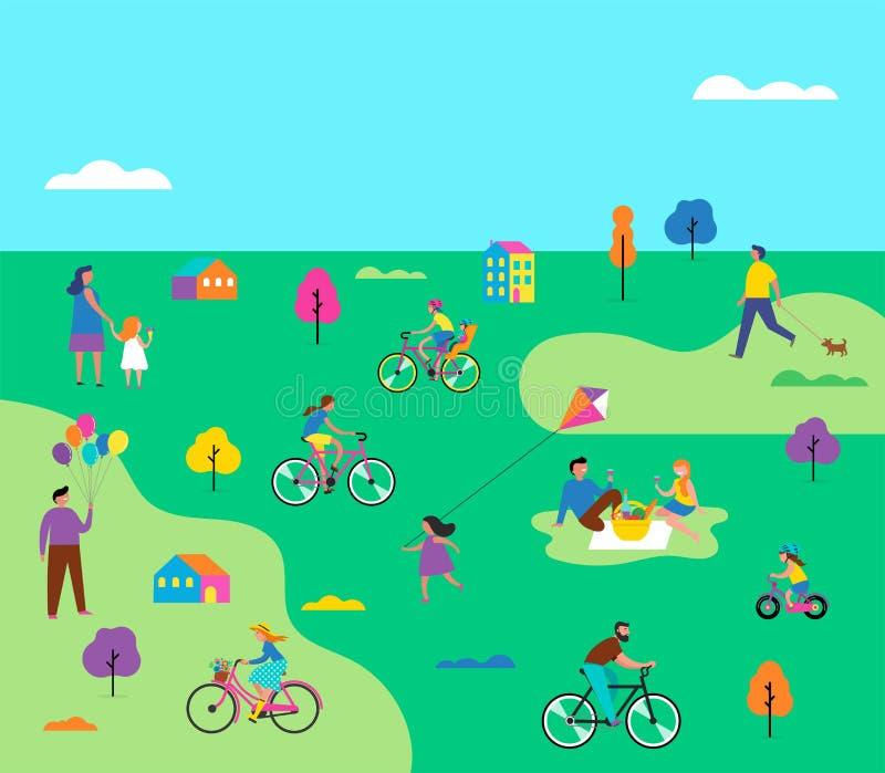 Escena al aire libre del verano con vacaciones de familia activas, ejemplo de las actividades del parque con los niños, pares y f stock de ilustración