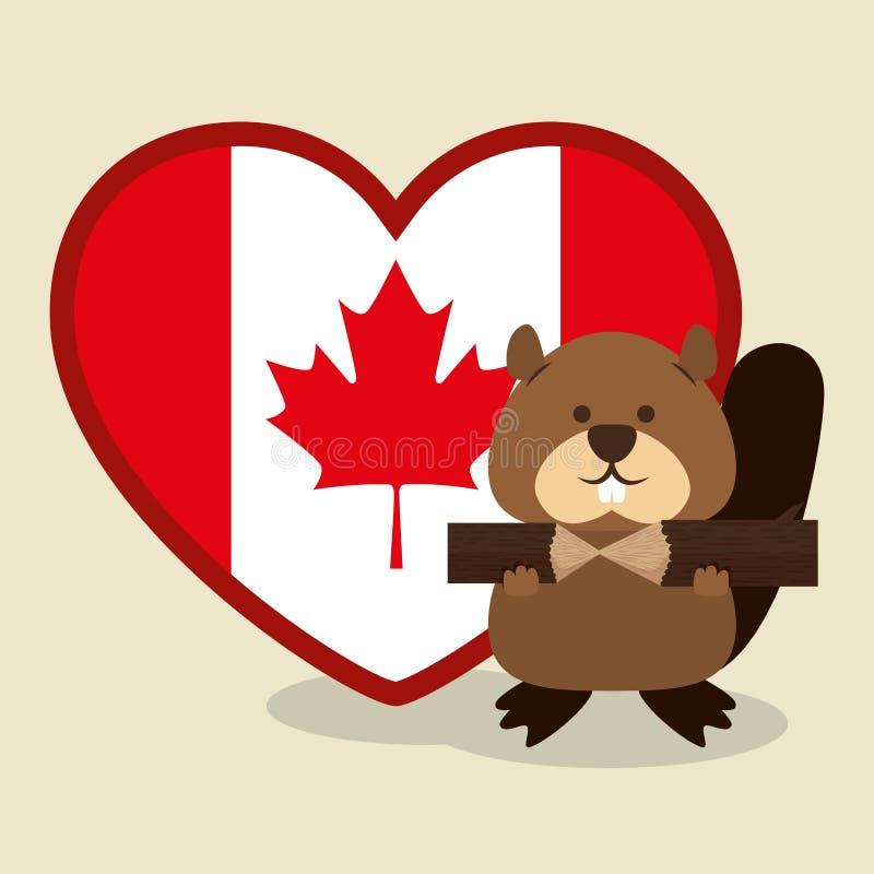 Escena animal canadiense del castor libre illustration