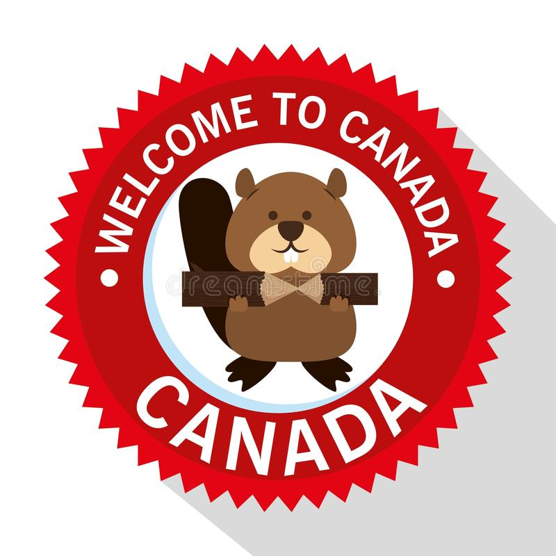 Escena animal canadiense del castor stock de ilustración