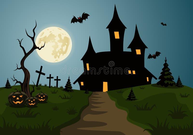 Escena asustadiza del fondo de Halloween con el castillo y la luna libre illustration