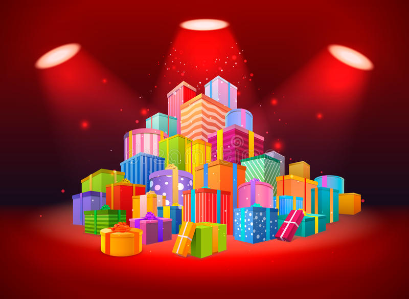 Escena brillante con la montaña de presentes en fondo rojo libre illustration