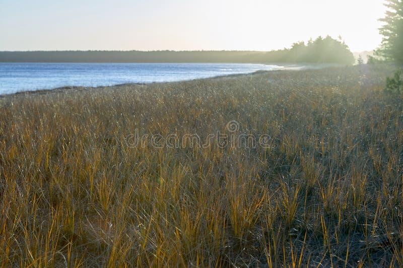 Escena brillante del paisaje de la mañana sobre el lago hermoso fotografía de archivo