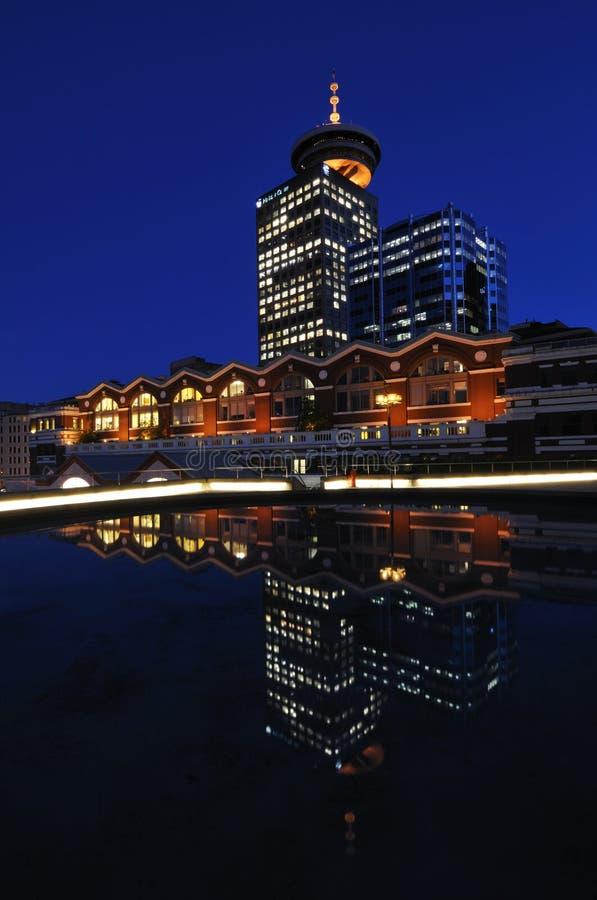 Escena céntrica de la noche de Vancouver foto de archivo libre de regalías