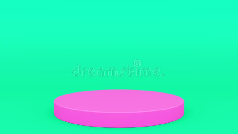 Escena cilíndrica 3d mínimo del verde y del rosa del podio que rinde mofa minimalistic moderna para arriba, plantilla en blanco,  libre illustration