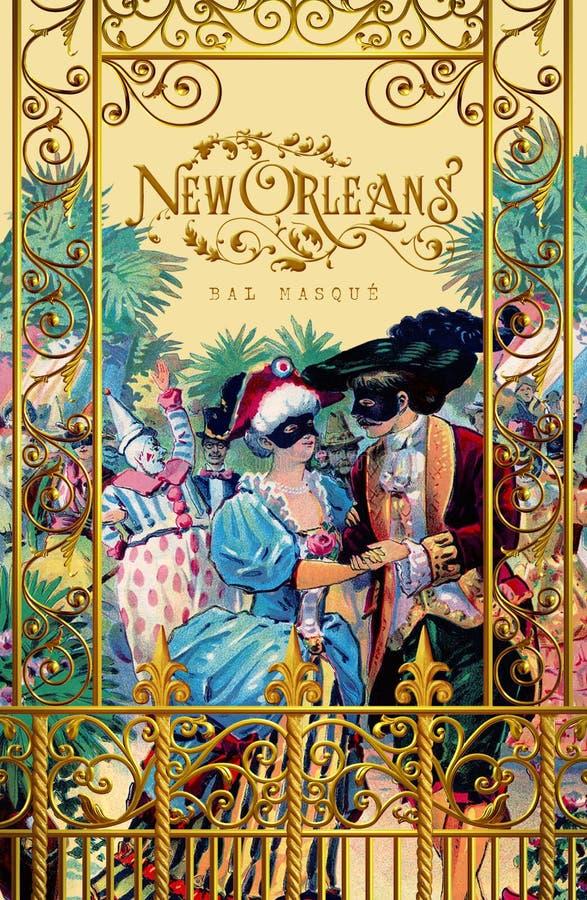 Escena clásica icónica histórica del balcón de la tarjeta de felicitación de New Orleans libre illustration