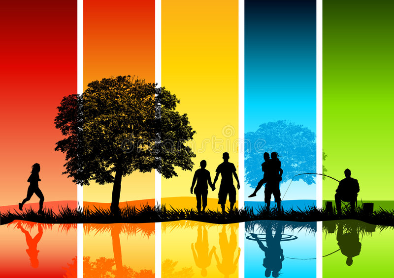 Escena colorida de la familia stock de ilustración