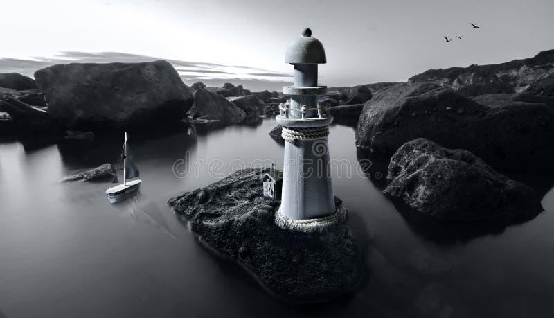 Escena compuesta creada con juguetes y un tiro del paisaje imagenes de archivo
