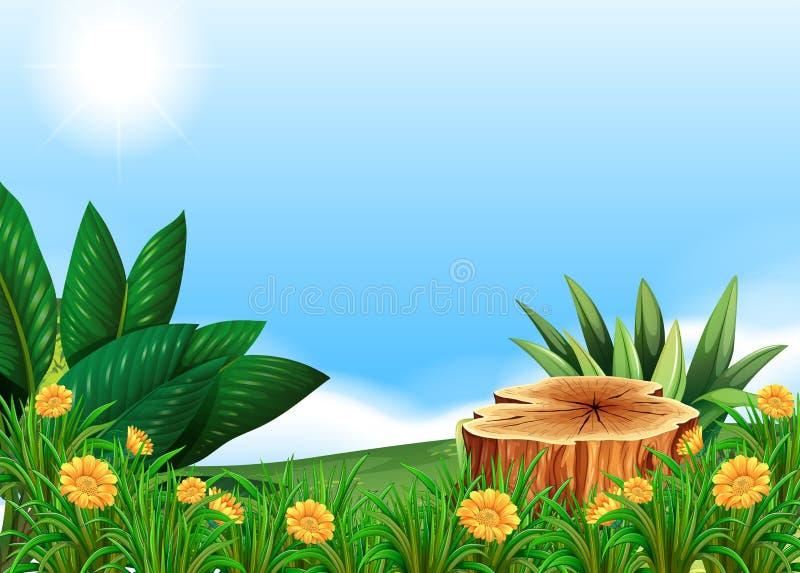 Escena con el árbol del tocón en campo de flor ilustración del vector