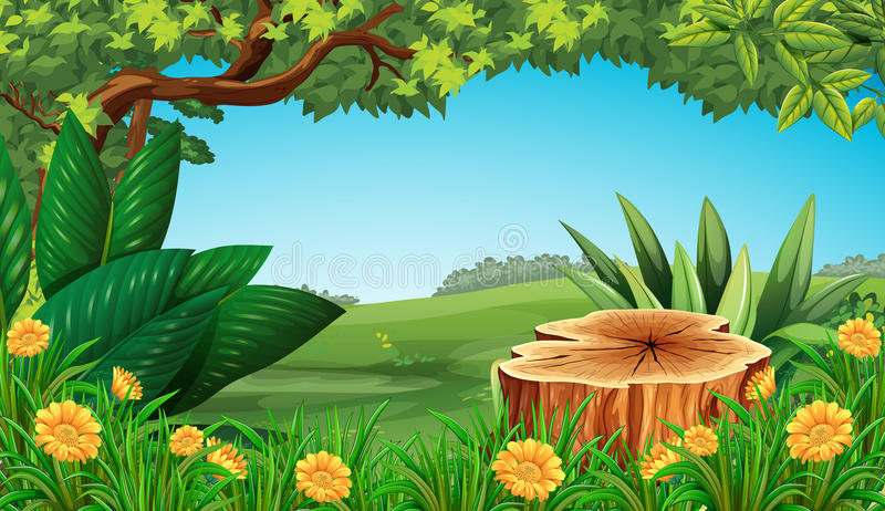Escena con el árbol y el campo del tocón ilustración del vector