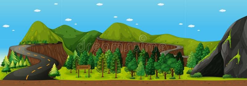 Escena con el camino a la montaña stock de ilustración