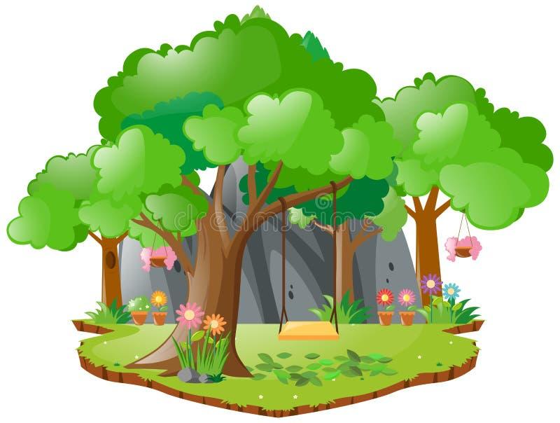 Escena con el oscilación en el árbol libre illustration