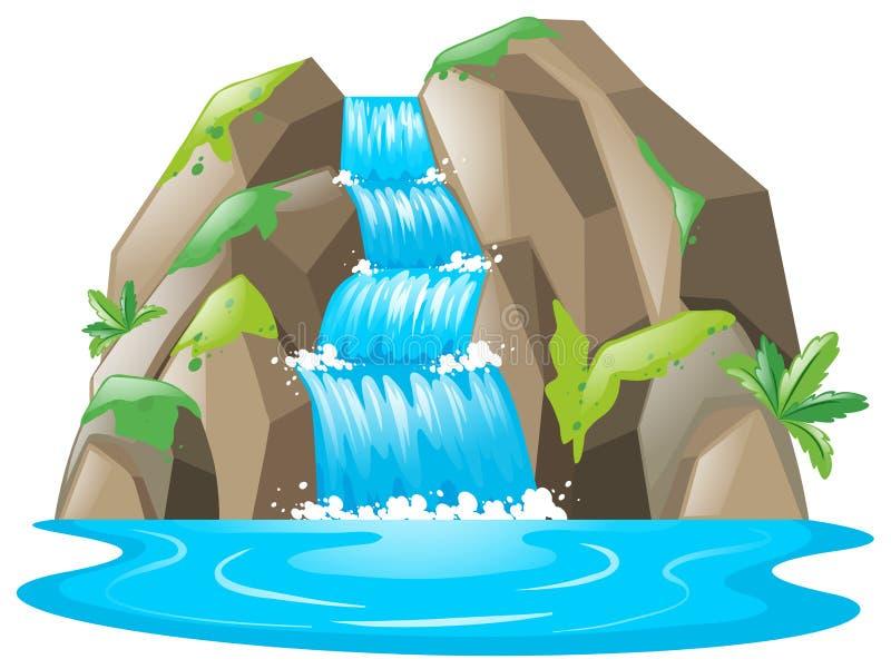 Escena con la cascada y el río ilustración del vector
