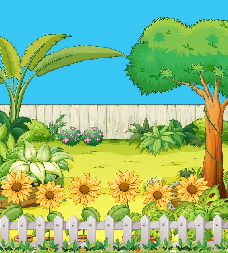 Escena con los árboles y las flores en patio trasero ilustración del vector