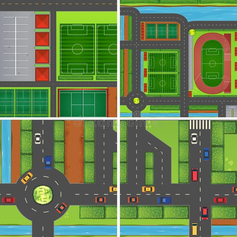 Escena con los caminos y los campos de deporte libre illustration