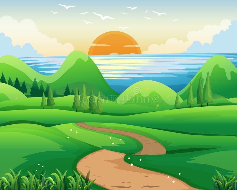 Escena con puesta del sol en el mar ilustración del vector