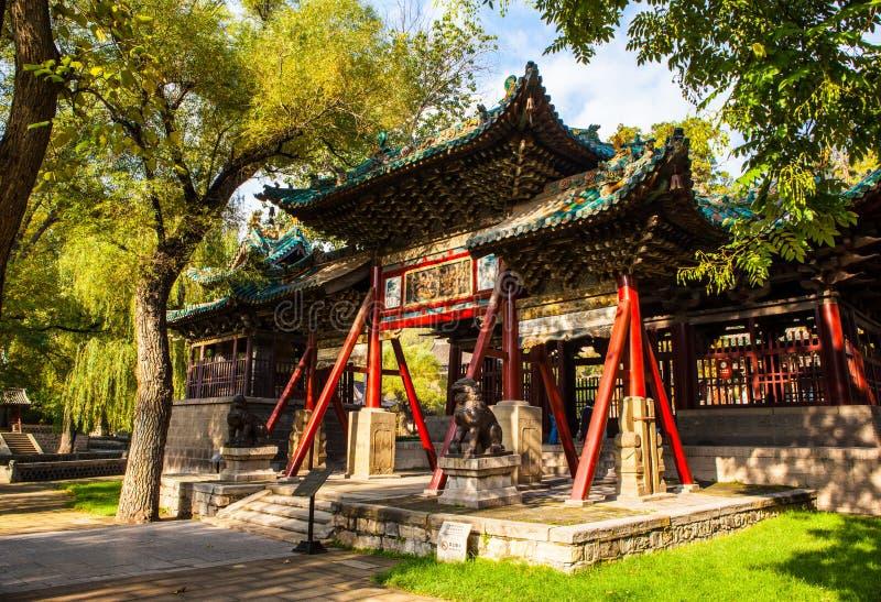 Escena conmemorativa del templo de Jinci (museo). Arcada de Duiyue fotos de archivo