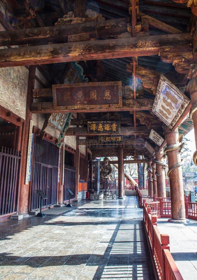 Escena conmemorativa del templo de Jinci (museo). Pórtico del pasillo santo de la madre. foto de archivo libre de regalías