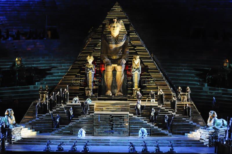 Escena de Aida en la arena de Verona fotos de archivo libres de regalías