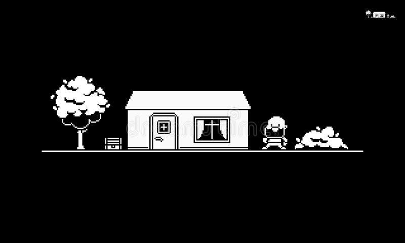 Escena de arte de píxeles de 1 bit ilustración del vector
