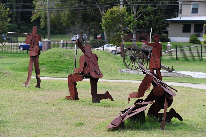 Escena de batalla de la guerra civil en el parque de la libertad, Helena Arkansas imagen de archivo