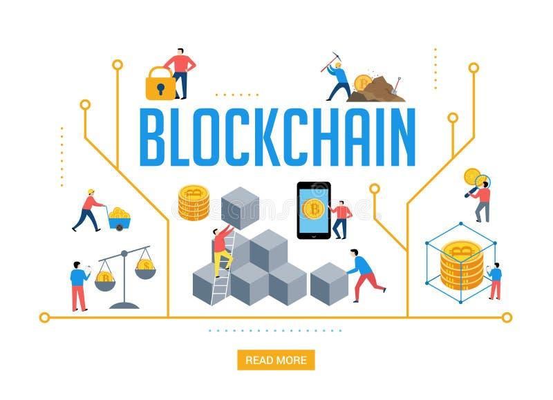 Escena de Blockchain con la gente minimalistic Diseño de concepto de la industria de Fintech ilustración del vector