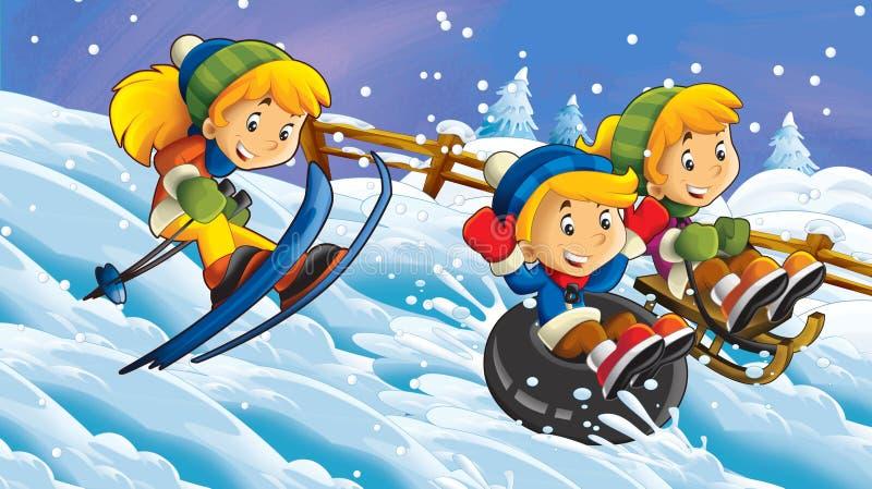 Escena de caricatura en la naturaleza en invierno con niños que se divierten deslizándose y esquiando - ilustración fotos de archivo libres de regalías