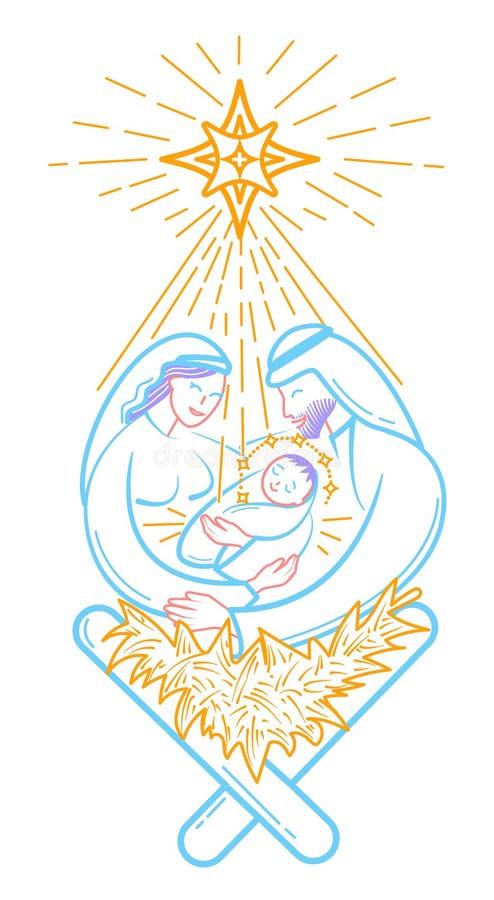 Escena de la biblia el icono de la natividad stock de ilustración