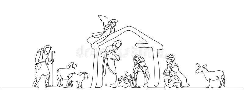 Escena de la biblia de la familia santa Ilustración del vector libre illustration