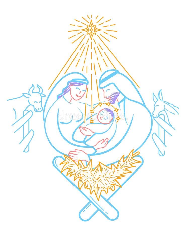 Escena de la biblia la natividad libre illustration